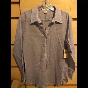 Navy pinstripe blouse